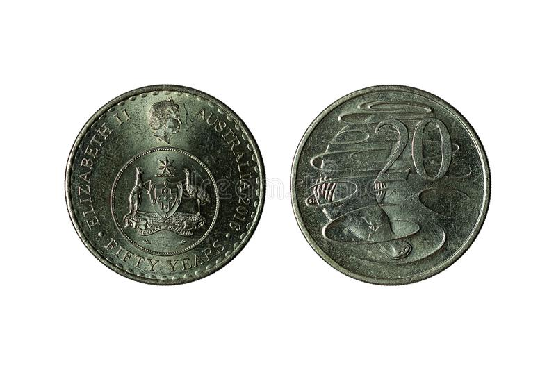 Old Australian coins. Australian old coins isolated on white background royalty free stock images
