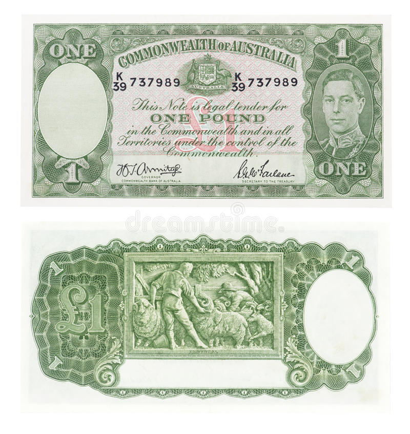 Old Australian one pound note stock image