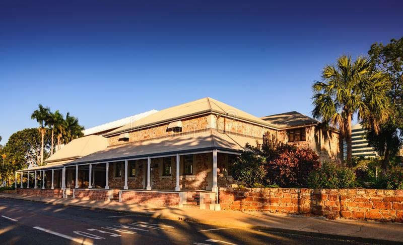 Old Australian Outback building. Once housed the court house of the NT in Darwin, Northern Territory, Australia.  Built of Kimberley sandstone. Wideshot stock images
