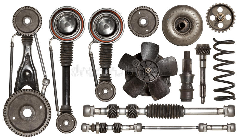 Old auto spare parts car on the white background stock image
