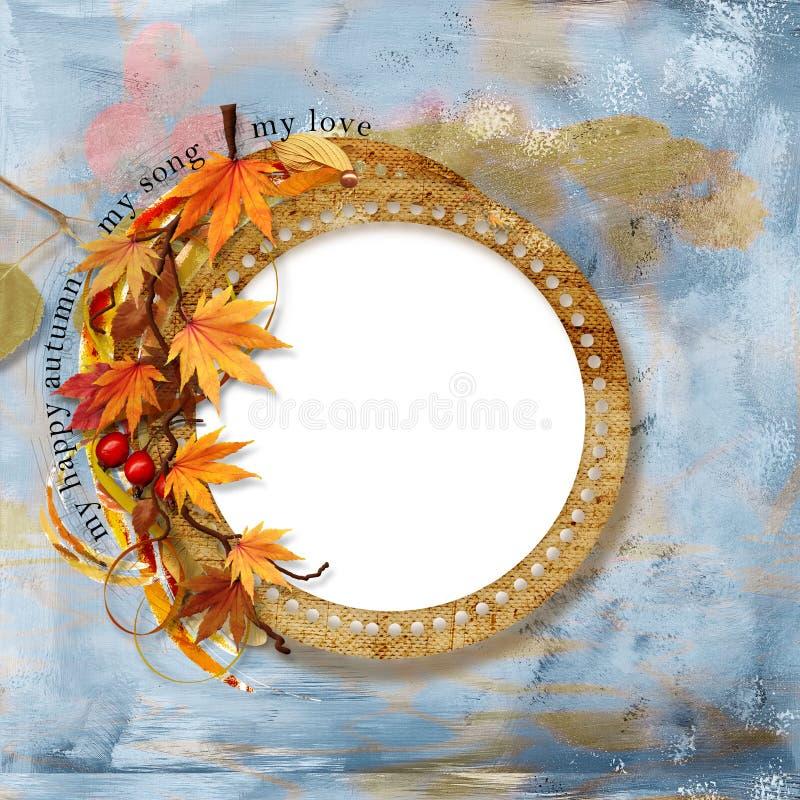 Old Autumn Frame On Shabby Background Stock Images