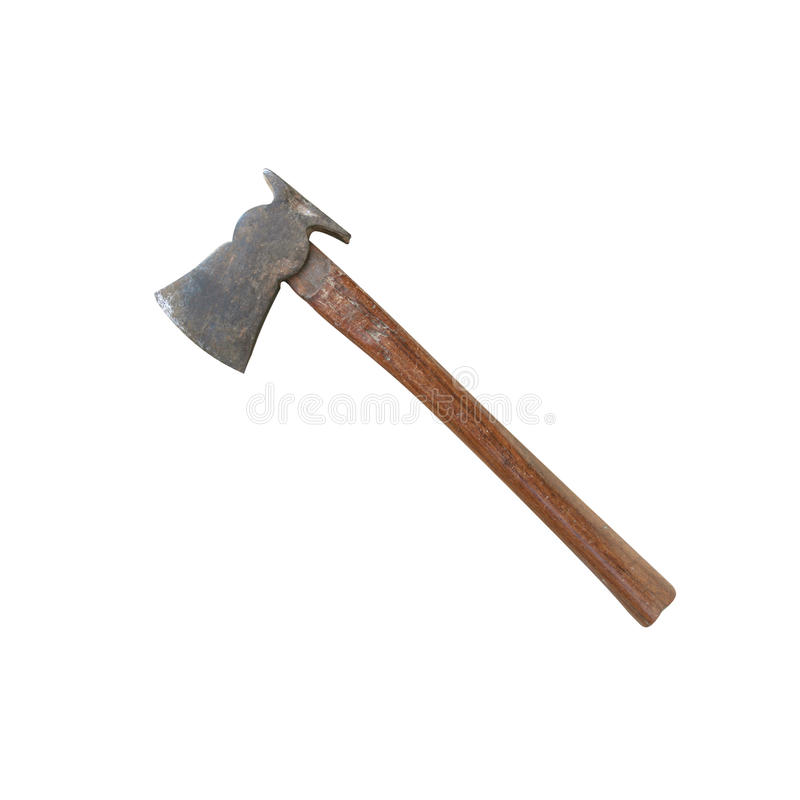 Old ax with wooden handle isolated on white background with clipping paths. royalty free stock image