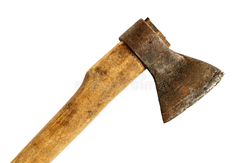 Old ax with wooden handle isolated on white background royalty free stock photography