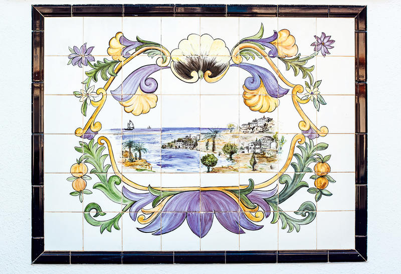 Old azulejos picture. Ancient ceramic tile. With landscape stock images