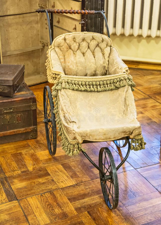 Old baby carriage stock image
