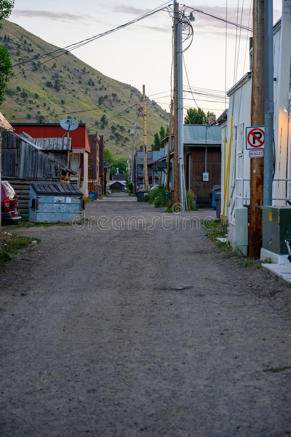 Old Back Alley in Jackson. Jackson Hole, United States: July 22, 2019: Old Back Alley in Jackson Hole shows a different side of the luxury town royalty free stock photo