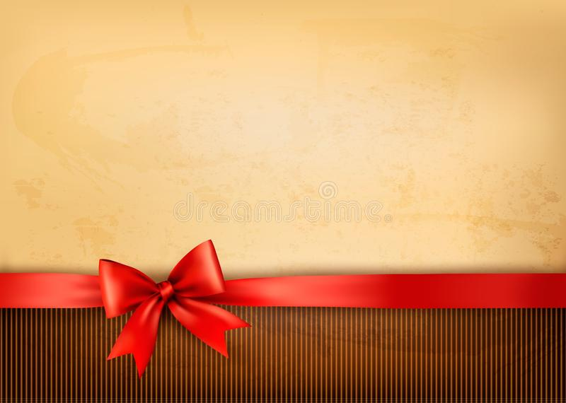 Download Old Background With Red Bow And Ribbon Stock Vector - Image: 28715177