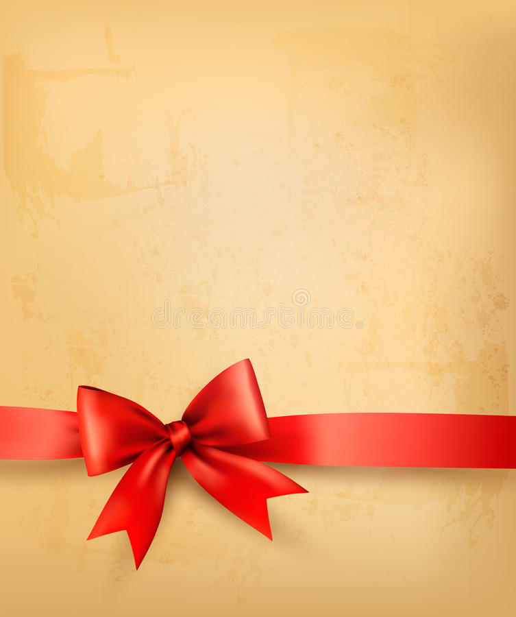 Old Background With Red Bow And Ribbon Royalty Free Stock Images