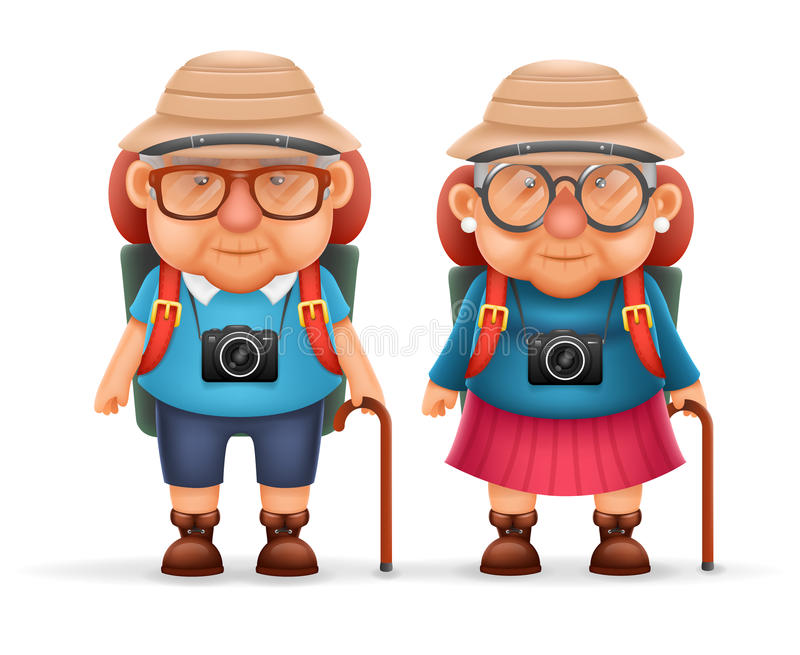 Old Backpacker Couple Photo Camera 3d Travel Realistic Cartoon Character Design Isolated Vector Illustration royalty free illustration
