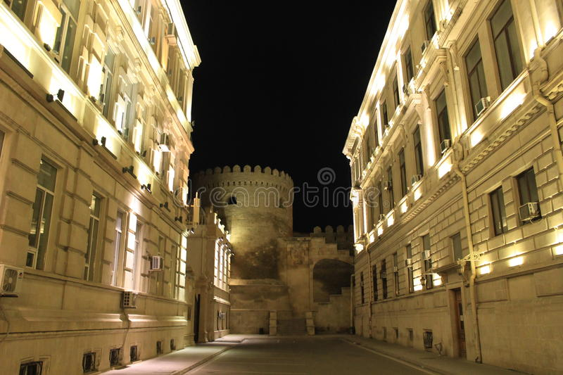Old town architecture, Baku, Azerbaijan. A view of the walls of the unesco-listed old town area of Baku, capital of Azerbaijan. Taken from outside of the unesco royalty free stock photography