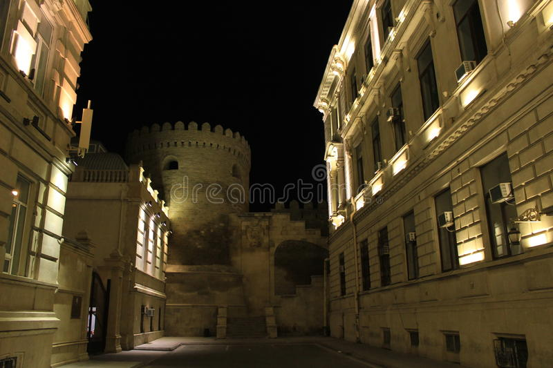 Old Baku. A view of the walls of the unesco-listed old town area of Baku, capital of Azerbaijan. Taken from outside of the unesco-area stock images