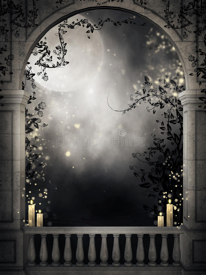 Old balcony with candles. Old gothic balcony with dark vines and candles vector illustration