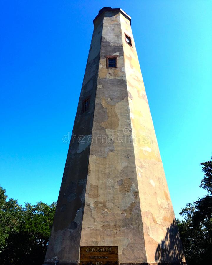 Old Baldy Lighthouse in North Carolina royalty free stock photography
