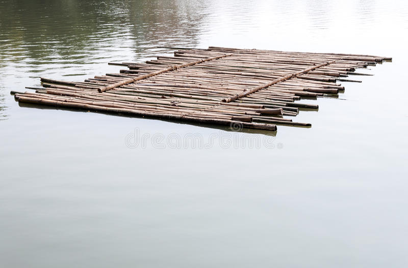 Old bamboo raft royalty free stock photo