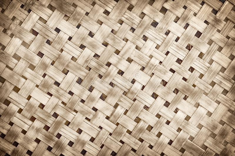 Old bamboo weave pattern background, Wickerwork bamboo texture background. Handmade bamboo weave royalty free stock photos