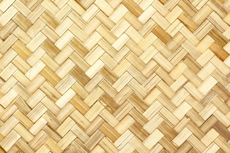 Old bamboo weaving pattern, woven rattan mat texture for background. And design art work royalty free stock image