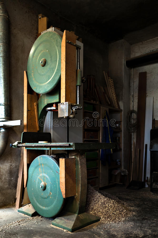 Old Band Saw in Carpentry workshop stock images
