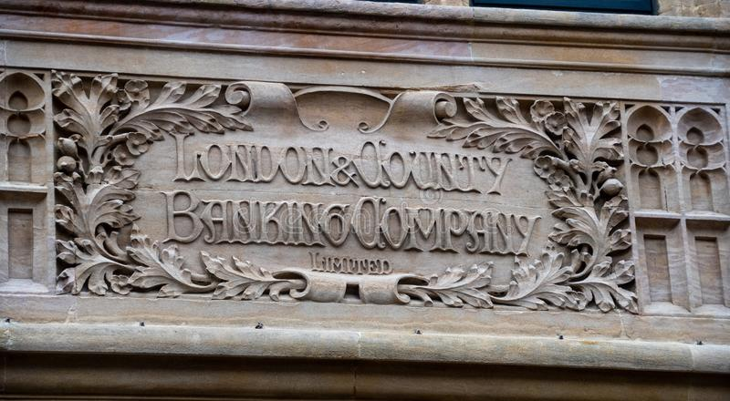 Old Bank Carving stock photos