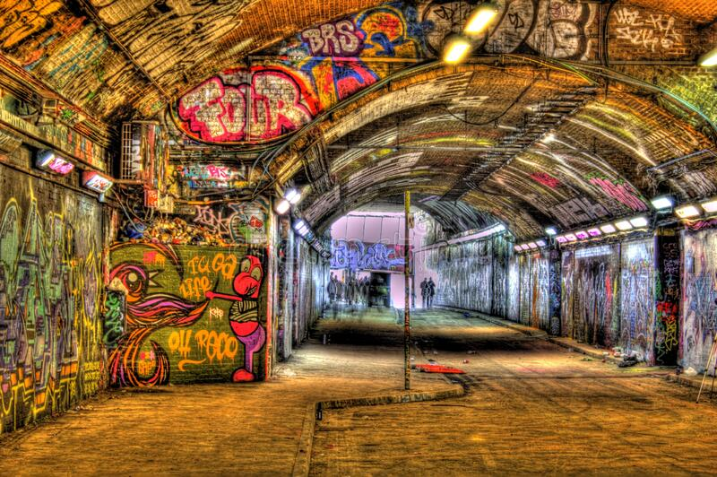 Banksy Graffiti Tunnel. The old Banksy graffiti tunnel in London royalty free stock image