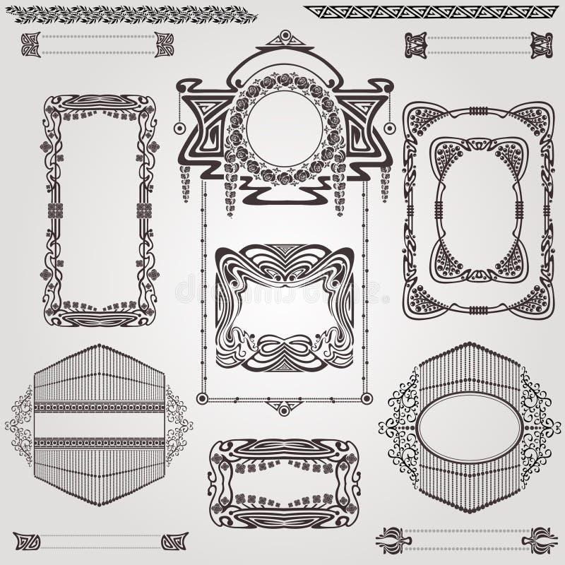 Old banner vintage label art nouvea frame vector illustration