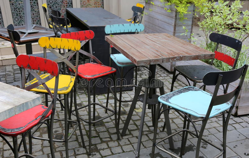Old bar stools stock photography