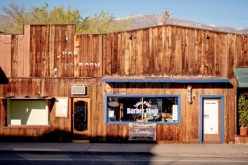 Old Barber Shop in the historic village of Lone Pine - LONE PINE CA, USA - MARCH 29, 2019. Old Barber Shop in the historic village of Lone Pine - LONE PINE CA royalty free stock photography