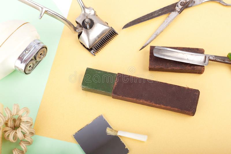 Old barber tools.set of vintage accessories and tools for shaving and haircut royalty free stock photos