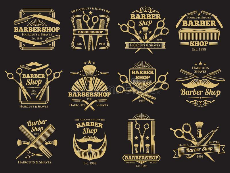 Old barbershop vector emblems and labels. Old golden barbershop vector emblems and labels. Vintage male haircut signs illustration vector illustration