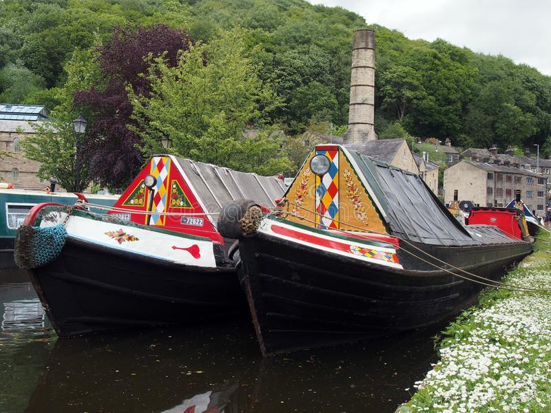Old barges at the narrow boats club gathering held on the may bank holiday on the rochdale canal at hebden bridge in west. Hebden bridge, west yorkshire, england royalty free stock photography
