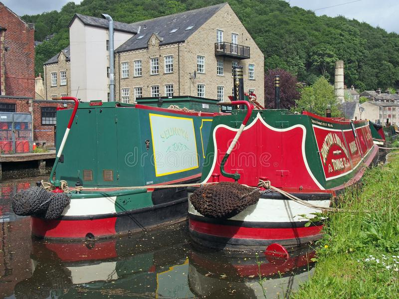 Old barges at the narrow boats club gathering held on the may bank holiday on the rochdale canal at hebden bridge in west. Hebden bridge, west yorkshire, england royalty free stock images
