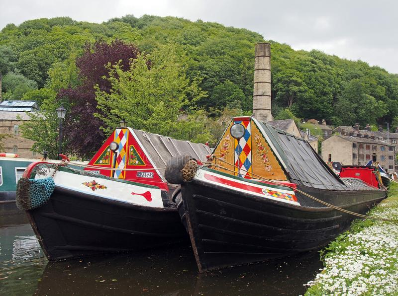 Old barges at the narrow boats club gathering held on the may bank holiday on the rochdale canal at hebden bridge in west. Hebden bridge, west yorkshire, england stock image