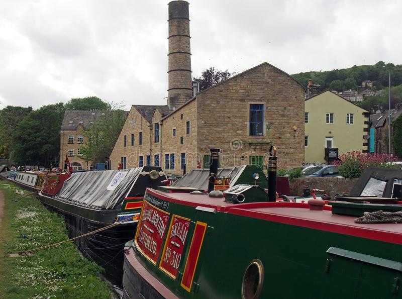 Old barges at the narrow boats club gathering held on the may bank holiday on the rochdale canal at hebden bridge in west. Hebden bridge, west yorkshire, england royalty free stock photos