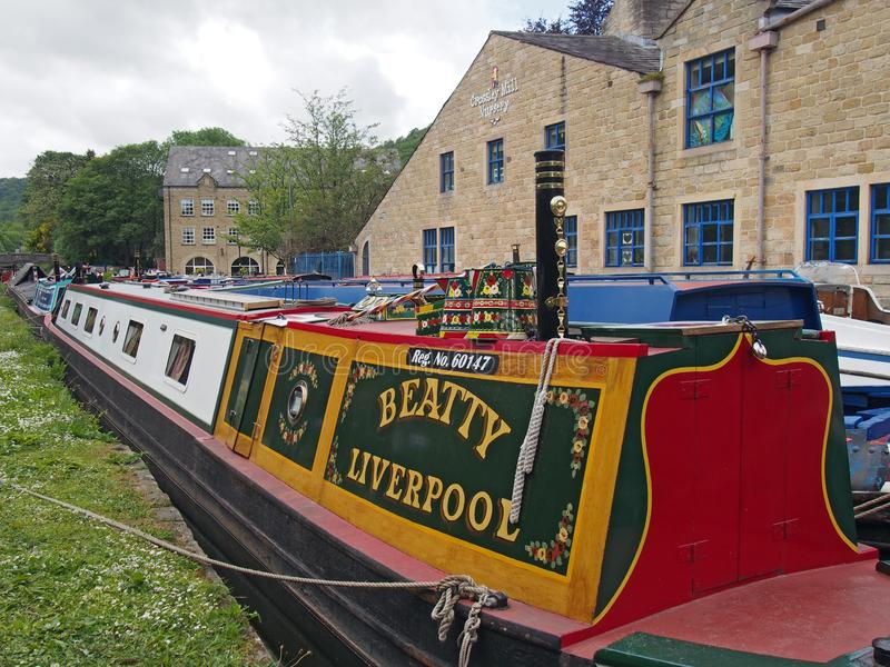 Old barges at the narrow boats club gathering held on the may bank holiday on the rochdale canal at hebden bridge in west. Hebden bridge, west yorkshire, england royalty free stock image
