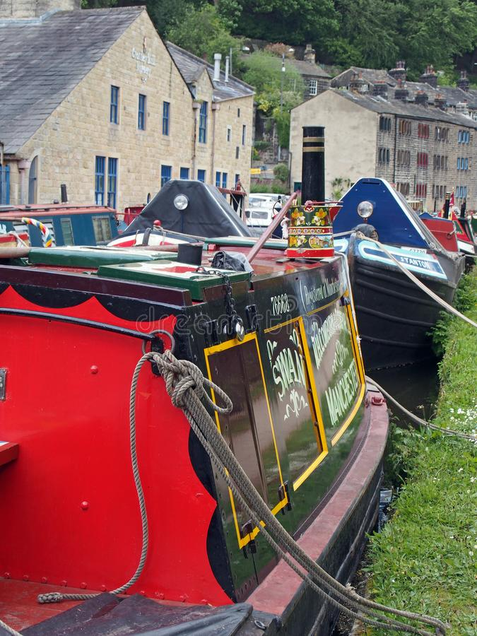 Old barges at the narrow boats club gathering held on the may bank holiday on the rochdale canal at hebden bridge in west. Hebden bridge, west yorkshire, england stock photography