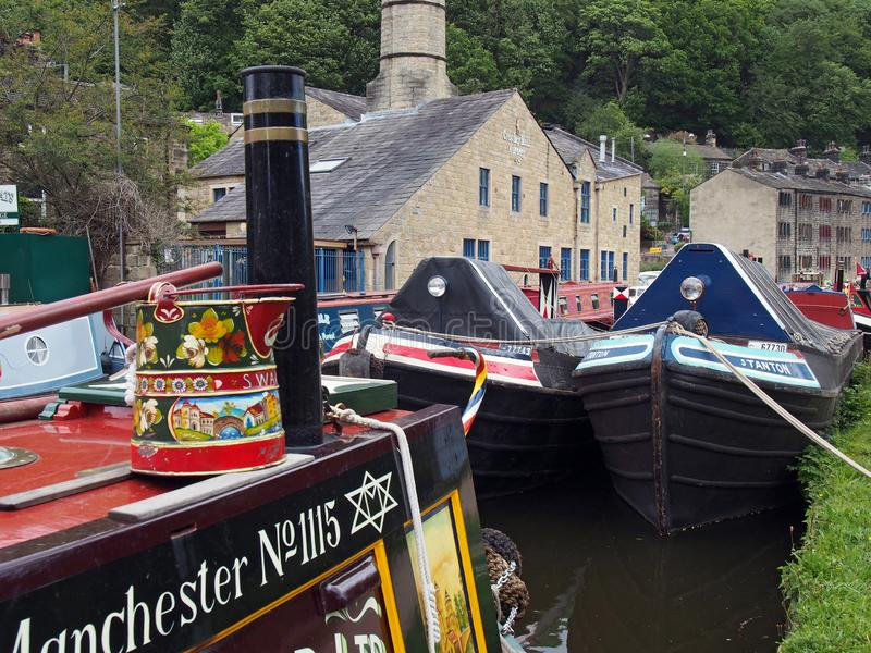 Old barges at the narrow boats club gathering held on the may bank holiday on the rochdale canal at hebden bridge in west. Hebden bridge, west yorkshire, england royalty free stock photo