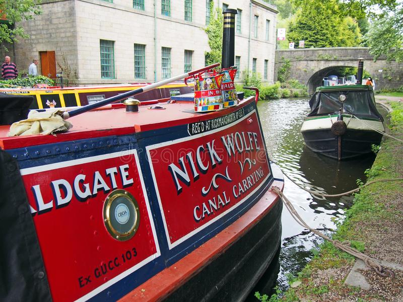 Old barges at the narrow boats club gathering held on the may bank holiday on the rochdale canal at hebden bridge in west. Hebden bridge, west yorkshire, england stock images