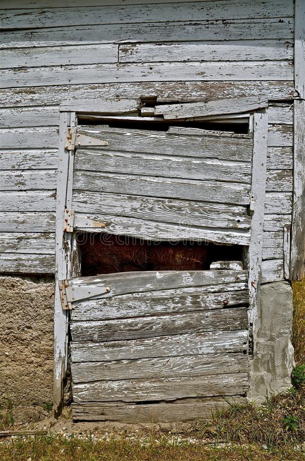 Old Barn Door is Rickety,Sagging, and Broken royalty free stock photography