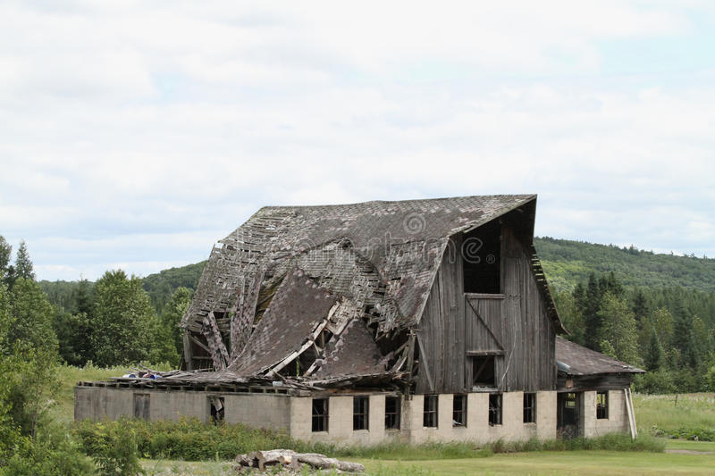 Old Barn falling down stock photos