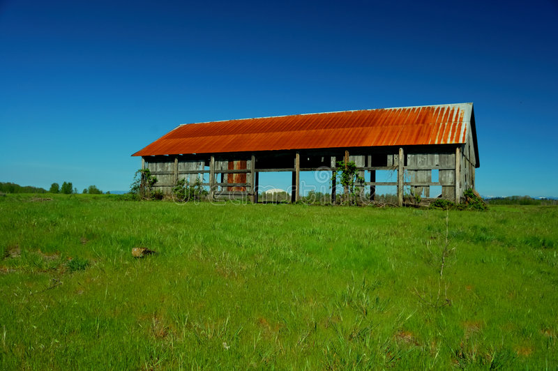 Old Barn in Field stock photos