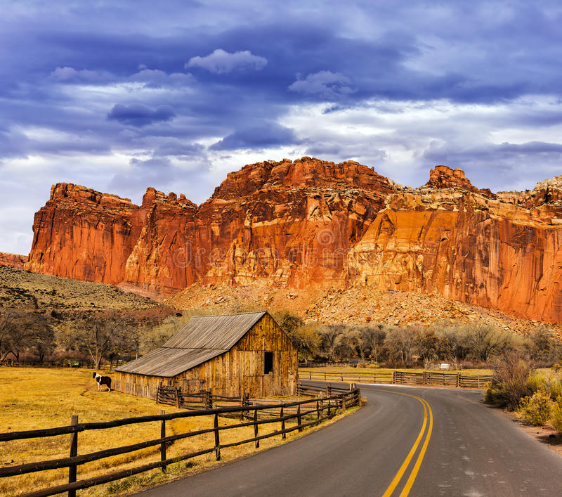 Old barn in Fruita at the Capitol Reef National Park in south-central Utah stock image