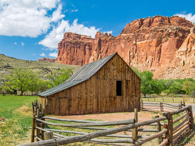 Old Barn at Fruita, Utah. An old barn stands in Fruita, Utah, a now abandoned settlement in Capitol Reef National Park stock photo