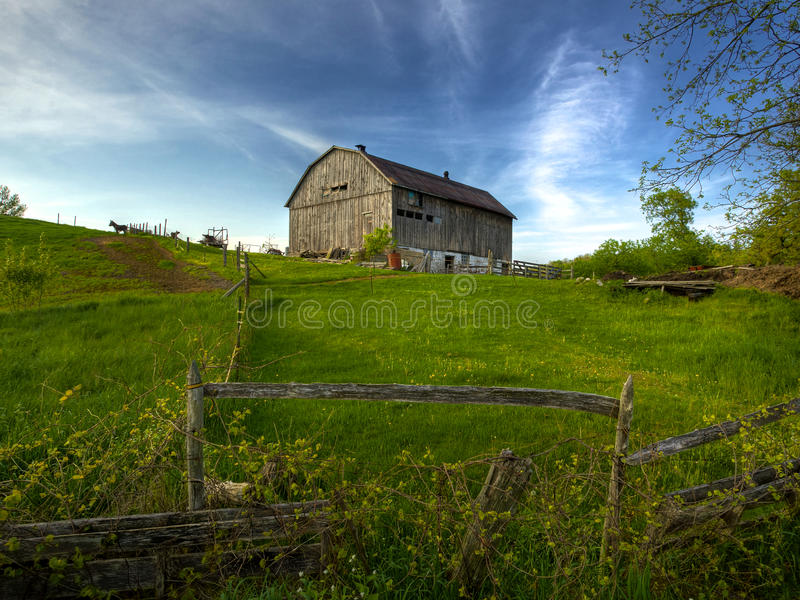 Old Barn on Hill stock photo