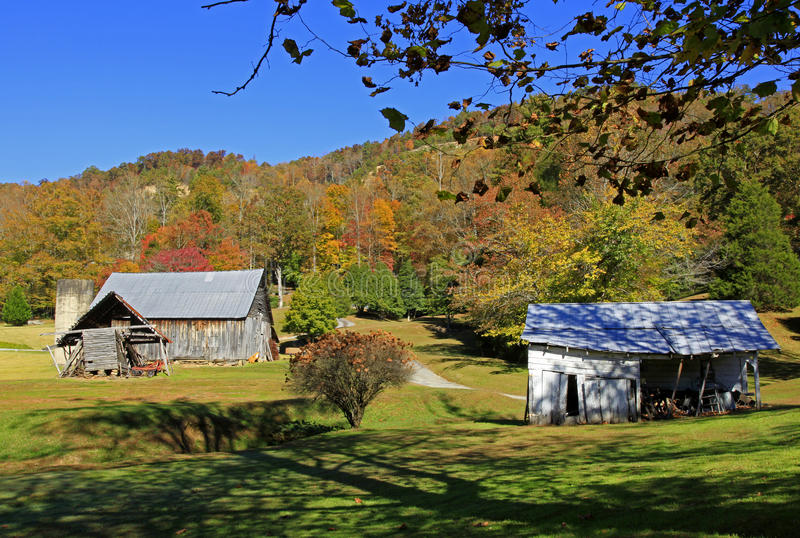 Old barn near Hendersonville NC. Old barn and fall colors near Hendersonville NC stock photography