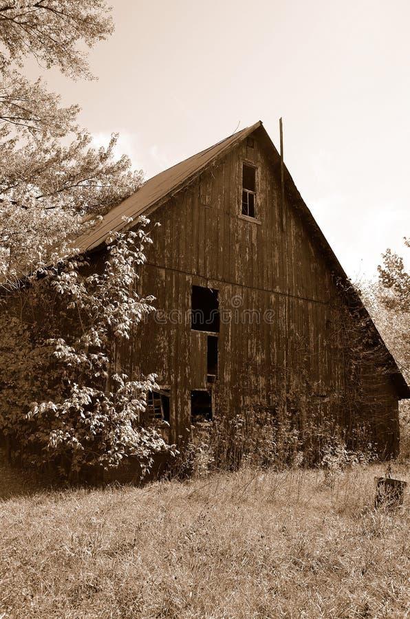 Old barn in sepia