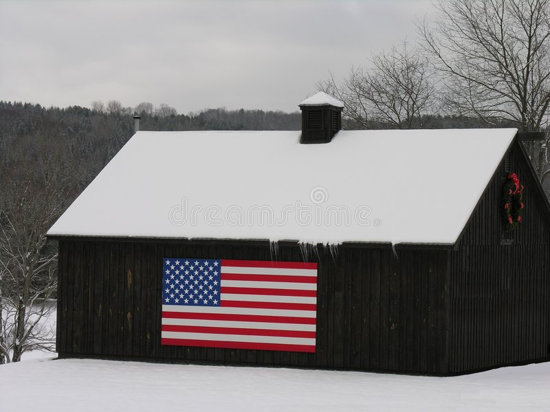 Download Old Barn With The Stars And Stripes. Stock Photo - Image: 1714274