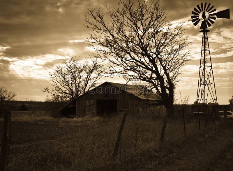 Old Barn & Windmill royalty free stock photos