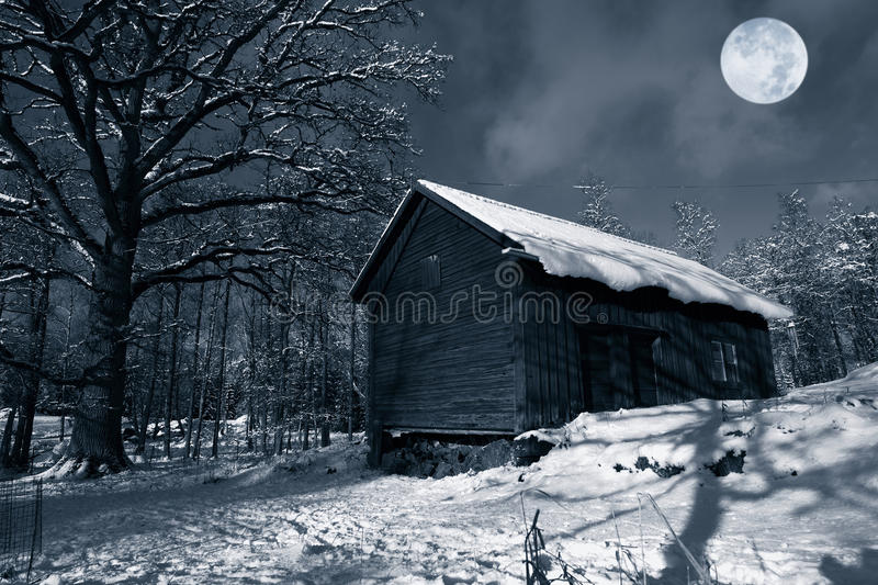 Download Old barn in winter snow stock image. Image of trees, full - 19282305