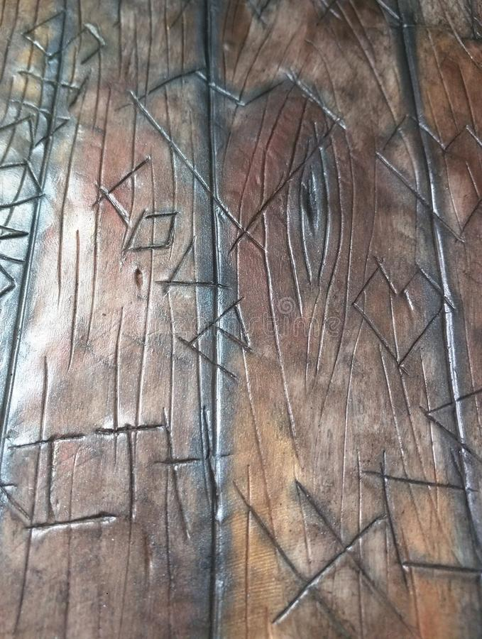 Old Barn Wood Carvings - Tree carvings stock photo