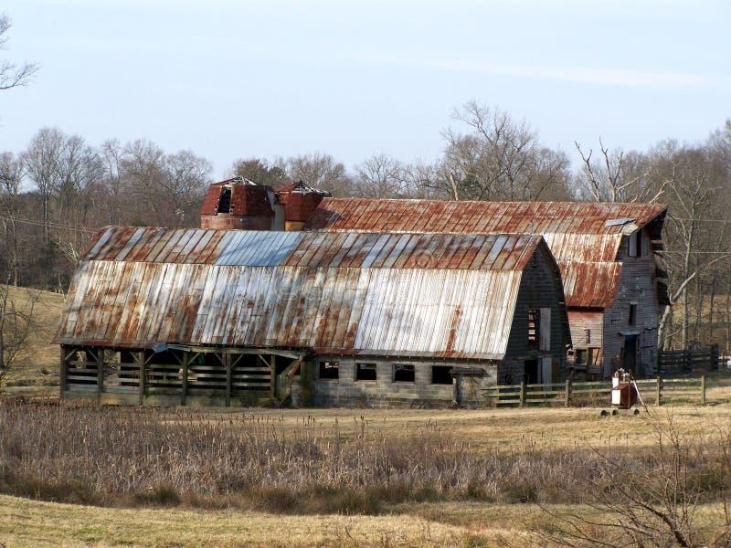 Old Barns. On a farm stock image