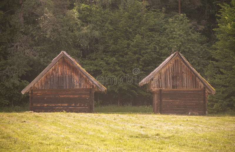Old barns near the forest royalty free stock photo